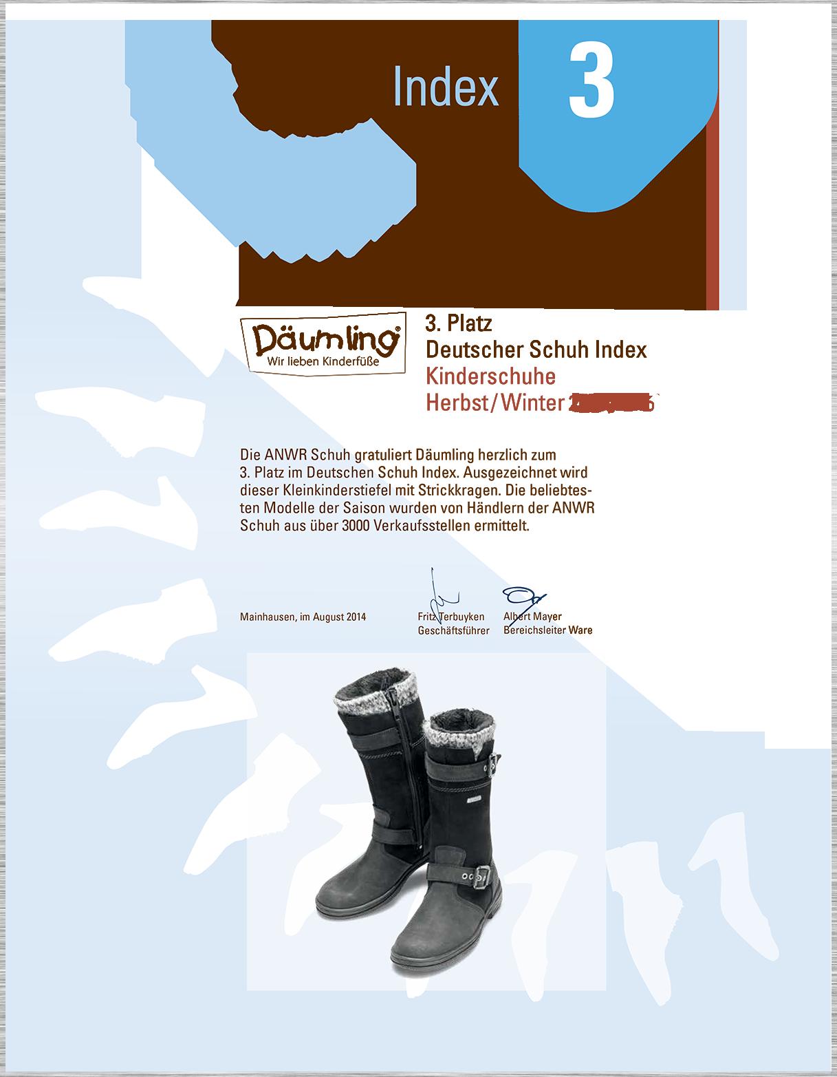 Zertifikat Däumling Kinderschuhe lauflernschuhe