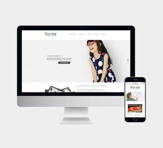 Däumling Kinderschuhe Webseite und Onlineshop, Kinderschuhe bequem einkaufen